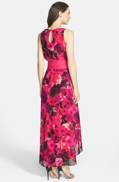 Free shipping and returns on Eliza J Print High/Low Chiffon Dress at Nordstrom.com. A lush watercolor bouquet enriches this dreamy chiffon dress cinched by a plush ribbon sash that releases the breeze-catching high/low skirt.