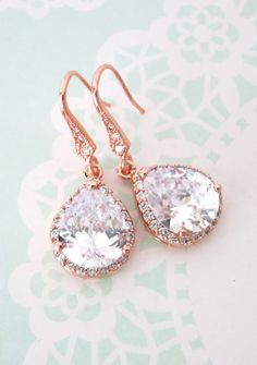 Rose Gold Luxe Cubic Zirconia Teardrop Earrings - earrings, bridal brides gifts, dangle, pink rose gold weddings, bridesmaid earrings, www.colormemissy.com