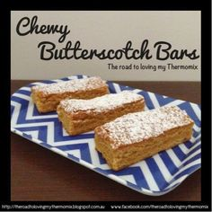 Well I just posted my dinner, Proscuitto Wrapped Chicken with Roasted Capsicum and Basil Sauce so now it is time for something sweet! I did have some perfectly cut bars of these but my lovely partner Butterscotch Bars, Caramel Bars, Lunch Box Recipes, Dessert Recipes, Cake Pops, Roasted Capsicum, Thermomix Desserts, No Bake Brownies, Brownie Bar