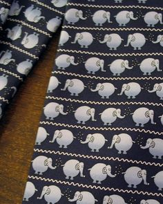 Marks & Spencer Silk Tie Repeat Pattern Elephants Cooling Off Navy & Gray #MarksandSpencer #Tie