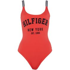 Tommy Hilfiger Clio bathing suit (130 CAD) ❤ liked on Polyvore featuring swimwear, coral, women, strappy swimwear, strappy bathing suit, swimsuit swimwear, swimming costume and bathing suit swimwear