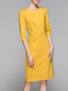 Yellow Ruched Crew Neck Elegant Solid Midi Dress