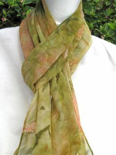 Hand Painted SILK CHIFFON Extra Long Scarf by ShariArts on Etsy, $38.00