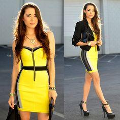 Flaunt Shop Yellow Rhinestone Dress, Bebe Black Crop Jacket, Steve Madden Platform Heels, Pacsun Lion Necklace - Glow - Jessica R.