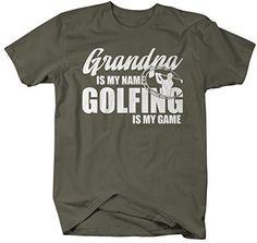 Shirts By Sarah Men's Funny Golfing T-Shirt Grandpa Is My Name Golfing Is My Game Shirt