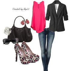 Hot Pink and Black, created by dlp22 on Polyvore