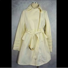 Bebe Large Wool Blend Gold White Trench Coat Nwt