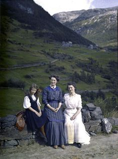 Three women in a landscape // Early colour photograph of Norway, c. 1910 | Adolf Miethe