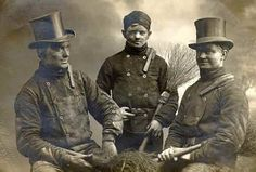 European chimney sweeps pose for group photograph.