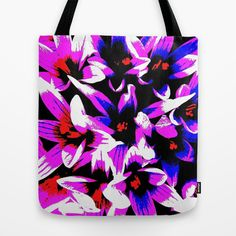 Pink, Blue ,White Flowers Tote Bag