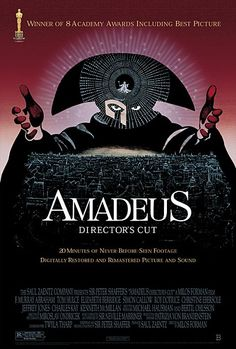 Directed by Milos Forman. With F. Murray Abraham, Tom Hulce, Elizabeth Berridge, Roy Dotrice. The incredible story of Wolfgang Amadeus Mozart, told by his peer and secret rival Antonio Salieri - now confined to an insane asylum.