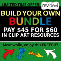 Choose your own favorite clip art resources and build your very own custom bundle! Have your favorite clipart resources and SAVE more! Your special request bundle.You only need to PAY $45 for $60 in clip art resources!LIMITED TIME OFFER! Please put your request/ order at the latest May 10th, 2017HOW THIS WORKS:1.