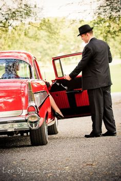Engagement Photography photography session old antique Chevy Bel Air car, dress, outfit, accessories, suitcases