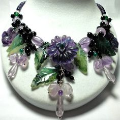 Fabulous Flourite Gemstone Bouquet Statement Necklace with Amethyst Green Agate and Black Onyx
