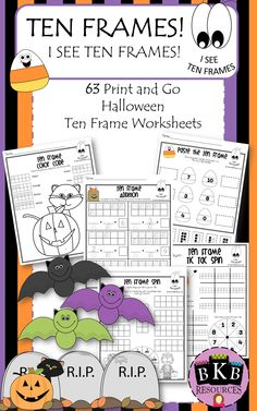 Ten Frames! I See Ten Frames  63 Print & Go Halloween Worksheets that you can simply print and hand out to students.  Easy Peasy!  NO LAMINATING OR CUTTING!    Great for morning work, homework, group work and centers. Fun and engaging ten frame practice work for this time of year! Helps develop students understanding of number.  COMMON CORE ALIGNED Visit: https://www.teacherspayteachers.com/Product/TEN-FRAMES-I-See-Ten-Frames-2166744