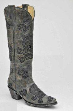 a456adb334f7cc Corral Ladies Cowboy Western Boots Black Tall Sequins Embroidered Skulls  R1078