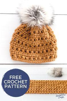 9861114455a Crochet Hat With Fur Pom Pom - Free Pattern