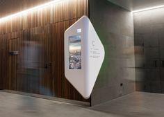 Medibank's Melbourne headquarters, 720 Bourke St Docklands Design by: Alexander Meeks of Adherettes Application: Wayfinding signage Corian® Colour(s): Designer White, Canvas, Dove Kiosk Design, Signage Design, Display Design, Retail Design, Stand Design, Booth Design, Screen Design, Wall Design, Digital Kiosk