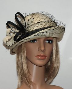 a3c14315e53 Items similar to Black and ivory white cloche hat for women for the small  headsize Last hat on SALE - 40% on Etsy. Affordable FashionCheap ...