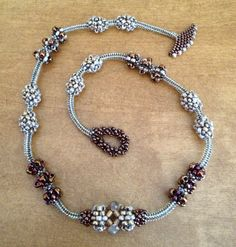 """Cocoa Berry"" seed bead woven necklace."