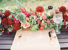 Metallics + Florals create a delightful backdrop to this wedding tablescape.