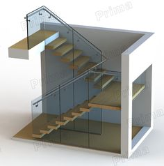 Customized Frameless Glass Modern U Staircase - Buy Modern U . House Staircase, Wood Staircase, Two Story House Design, House Front Design, Home Room Design, Home Design Plans, U Stairs Design, U Shaped Stairs, Escalier Design