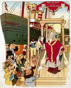 """Aankomst van Sint Nicolaas        Zie ginds komt de stoomboot  uit Spanje weer aan.  Hij brengt ons Sint-Nicolaas   ik zie hem al staan.  Hoe huppelt zijn paardje   het dek op en neer,  Hoe waaien de wimpels  al heen en al weer.         Zijn knecht staat te lachen  en roept ons reeds toe:  """"Wie zoet is krijgt lekkers,  wie stout is de roe!""""  O lieve Sint Nicolaas,  kom ook eens bij mij,  en rijd toch niet stilletjes   ons huisje voorbij."""