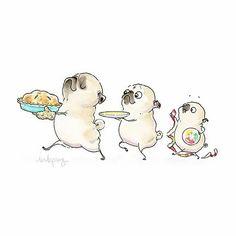 Pug Illustration, Illustrations, Animals And Pets, Cute Animals, Pug Cartoon, Pugs And Kisses, Baby Pugs, Pug Art, Cute Pugs