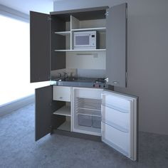Tiny kitchenette design ideas small kitchen designs home interior Micro Kitchen, Hidden Kitchen, Compact Kitchen, Kitchen And Bath, Office Kitchenette, Kitchenette Design, Kitchen Countertops, Kitchen Cabinets, Studio Kitchen