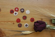 10 Beaded Flowers Table Confetti; White, Red, Purple; Table Decor; Table Scatter; Wedding Confetti; Party Confetti by TreasureLakeDesigns on Etsy