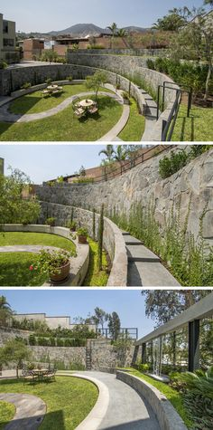 Architects have transformed what was once a cockfighting arena near Lima, Peru, into a calm and relaxing garden that is open for all the neighbors to enjoy. Landscape And Urbanism, Landscape Architecture Design, Landscape Walls, Urban Landscape, Architecture Jobs, Architecture Diagrams, Architecture Portfolio, Backyard Landscaping, Landscaping Ideas