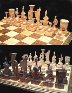 Creative adaption of musical instruments to the chess board.