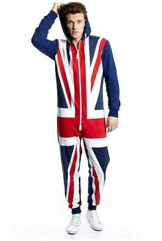 a6be406321c 2016 new arrivals onesie jumpsuit fleece hooded UK flag print mens onesie  jumpsuit