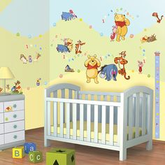 Cute Wiederverwendbare Wandsticker und Messlatte von Disneys Winnie the Pooh f rs KInderzimmer WALLTASTIC Wandsticker