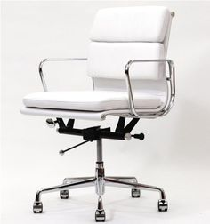 Showtime Mid-Back Soft Pad Modern Office Chair: This classic 1960's design is constructed with a polished aluminum frame, base and armrests and upholstered with a genuine leather seat and back. This contemporary office chair has a 5-star base, tilt-swivel mechanism and seat-height adjustment and is a high quality reproduction of the original.    Colors: Black, White.  #eames replica