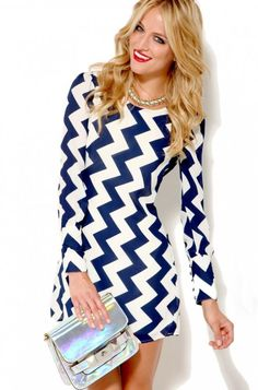 Women's #Fashion #Clothing:  Clothes:  AKIRA Chevron Pattern Long Sleeve Dress in Navy Blue and White