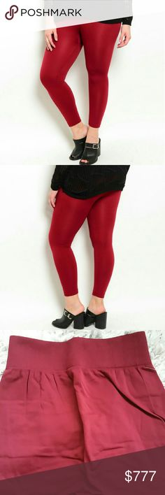 Burgundy fleeced lined leggings NWT Brand new with tags  Boutique items, price is firm  Goregous and warm fleeced lined leggings, perfect for the season! Stay warm and comfy in these fabulous leggings.  Plus size/one size Material 92%Nylon 8%Spandex Color:burgundy  Color will vary per screen Pants Leggings