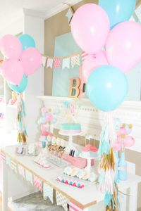 pink and blue spa party dessert table
