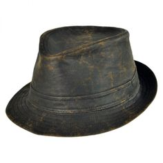 fedora hats | ... Men's Hats Fedoras Stingy Brim & Trilby Weathered Cotton Fedora Hat