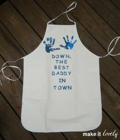 Daddy BBQ apron @Roberta Causarano! This would have been cute for fathers day too!! Maybe next year!!