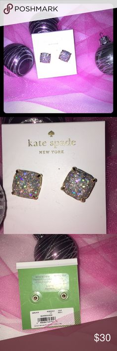 Re-posh Kate Spade Glitter Earrings SUPER CUTE! Silver Glitter with Gold Detail. I love them but found them with Silver tone and that's more up my alley. --- not on original Kate Spade Backing kate spade Jewelry Earrings