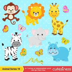 Jungle Animal Clipart Baby Animals Clipart Safari by Cutesiness