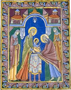 Pretty medieval manuscript of the day is a twelfth century illumination of the presentation of Christ in the temple. Today