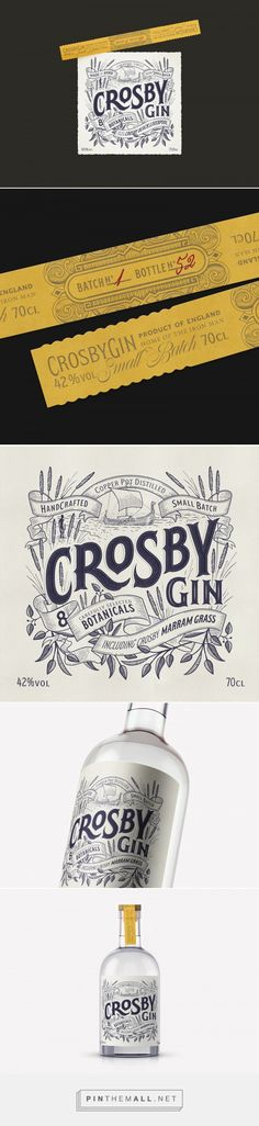 Crosby Gin - Packaging of the World - Creative Package Design Gallery - http://www.packagingoftheworld.com/2017/05/crosby-gin.html