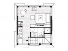 a tiny house floor plan with an inexpensive rectangle shape, easy to build