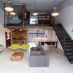 The loft Valkenswaard is located in an old factory hall. The clients& wish was to create a rough and industrial & The post Loft Valkenswaard appeared first on HOOG.design - Exclusive living inspiration in the United Kingdom. Small Space Interior Design, Home Interior Design, Interior Architecture, Mini Loft, Loft Stil, Loft Kitchen, Loft Interiors, Loft House, Loft Design