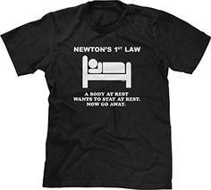 Blittzen Mens Newton's 1st Law - Now Go Away, L, Black. 100% Preshrunk cotton. Design may appear smaller/larger based on sizing. Wash inside out with like colors in cold water. Hang to air dry or tumble dry on low heat. Great gift for those with a sense of humor.