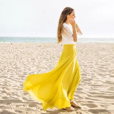 fb26eed3b65b24 Elegante strand boho lange chiffon rokken voor vrouwen volledige lining  zipper pleats geel 2017 floor lengte