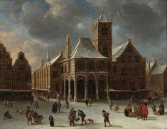 Jan Abrahamsz van Beerstraten - Winters stadsgezicht van Amsterdam met de dam en het oude stadhuis (2)