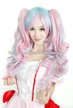Nova lolita longa powerblue ponytails anime cosplay festa curly hair ... Cosplay Wigs, Anime Cosplay, Lolita Cosplay, Long Curly, Ponytail, Curly Hair Styles, Nova, Pink, Pictures